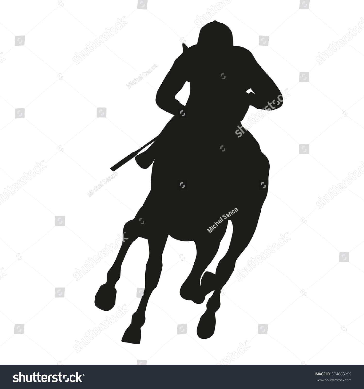 Horse Racing, Vector Silhouette Running Horse And Jockey ...