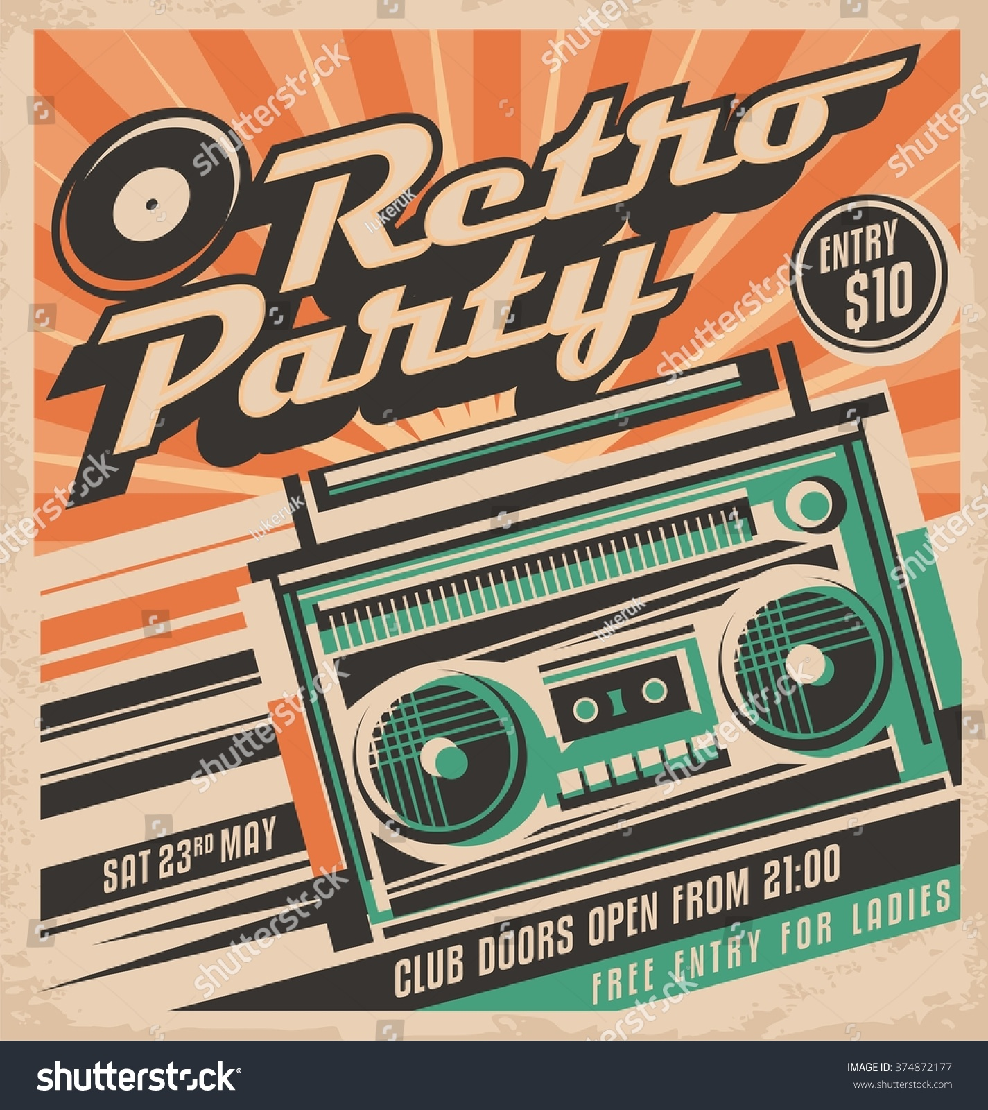 Retro party vector poster design concept  Disco music event at night club   vintage party invitation template  Unique music background theme. Royalty free Retro party vector poster design   374872177 Stock