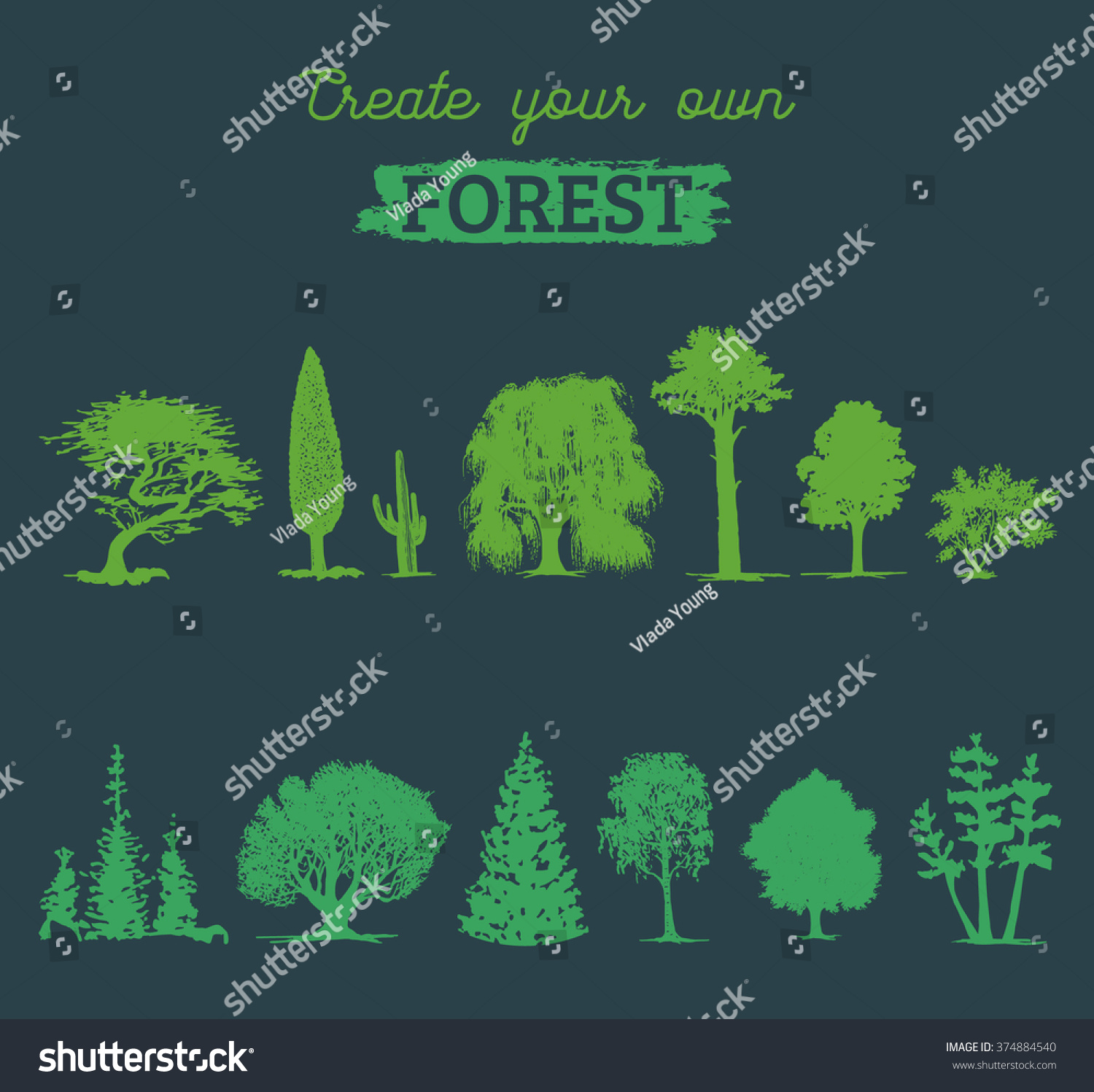Vector Trees Trees Silhouettes Create Your Own Forest