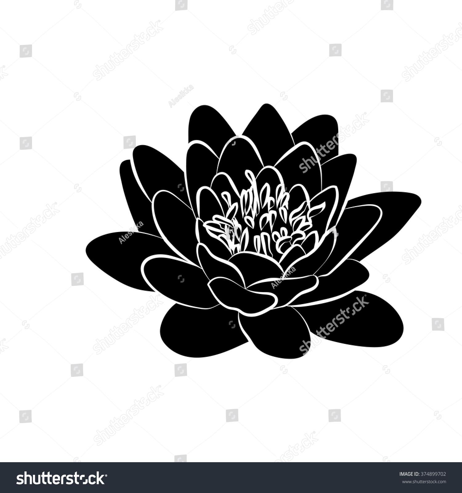 Black Silhouette Of Lotus Flowers Icon On A White Background Ez Canvas