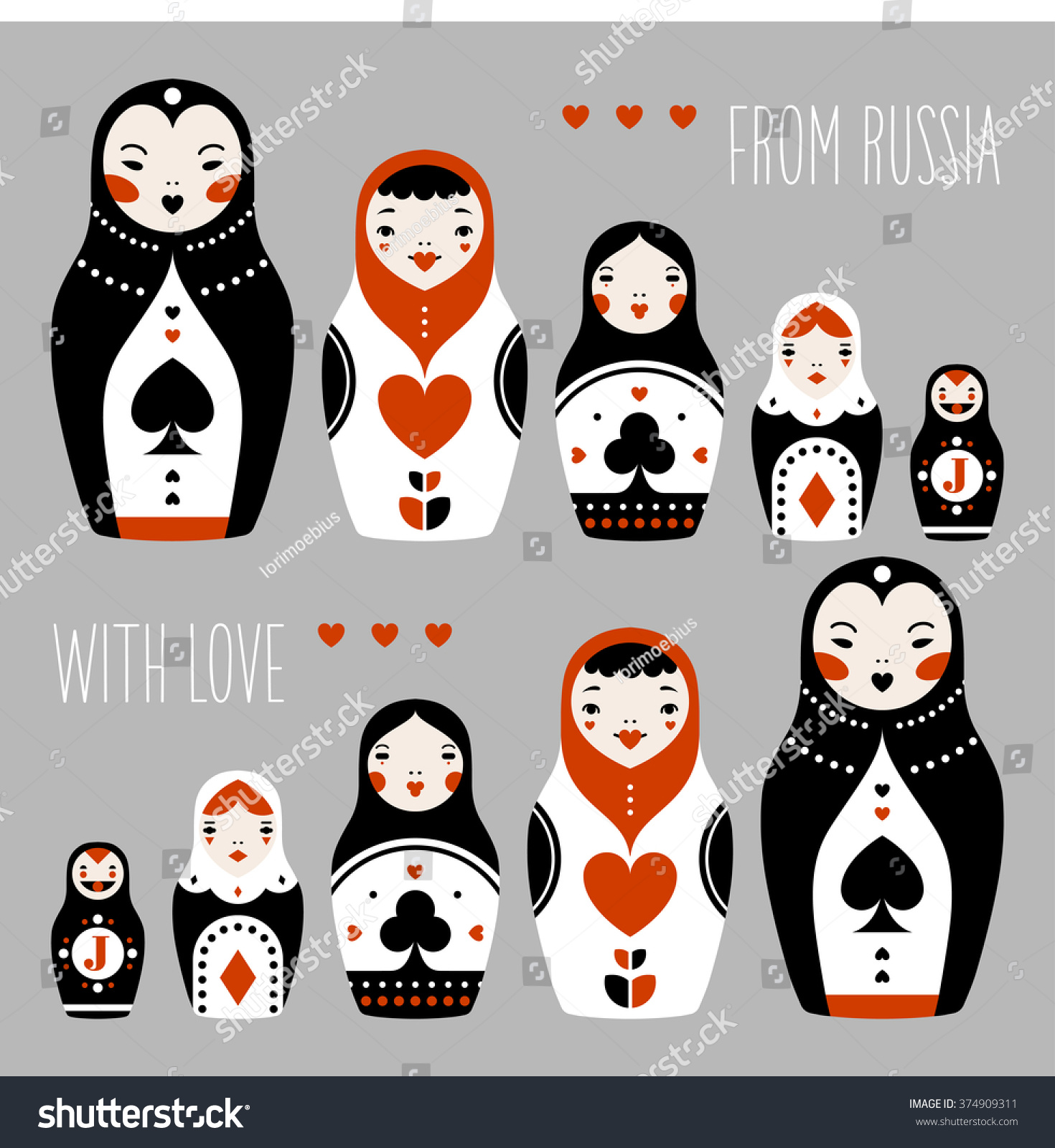 russia love matryoshka playing cards suits stock vector hd royalty