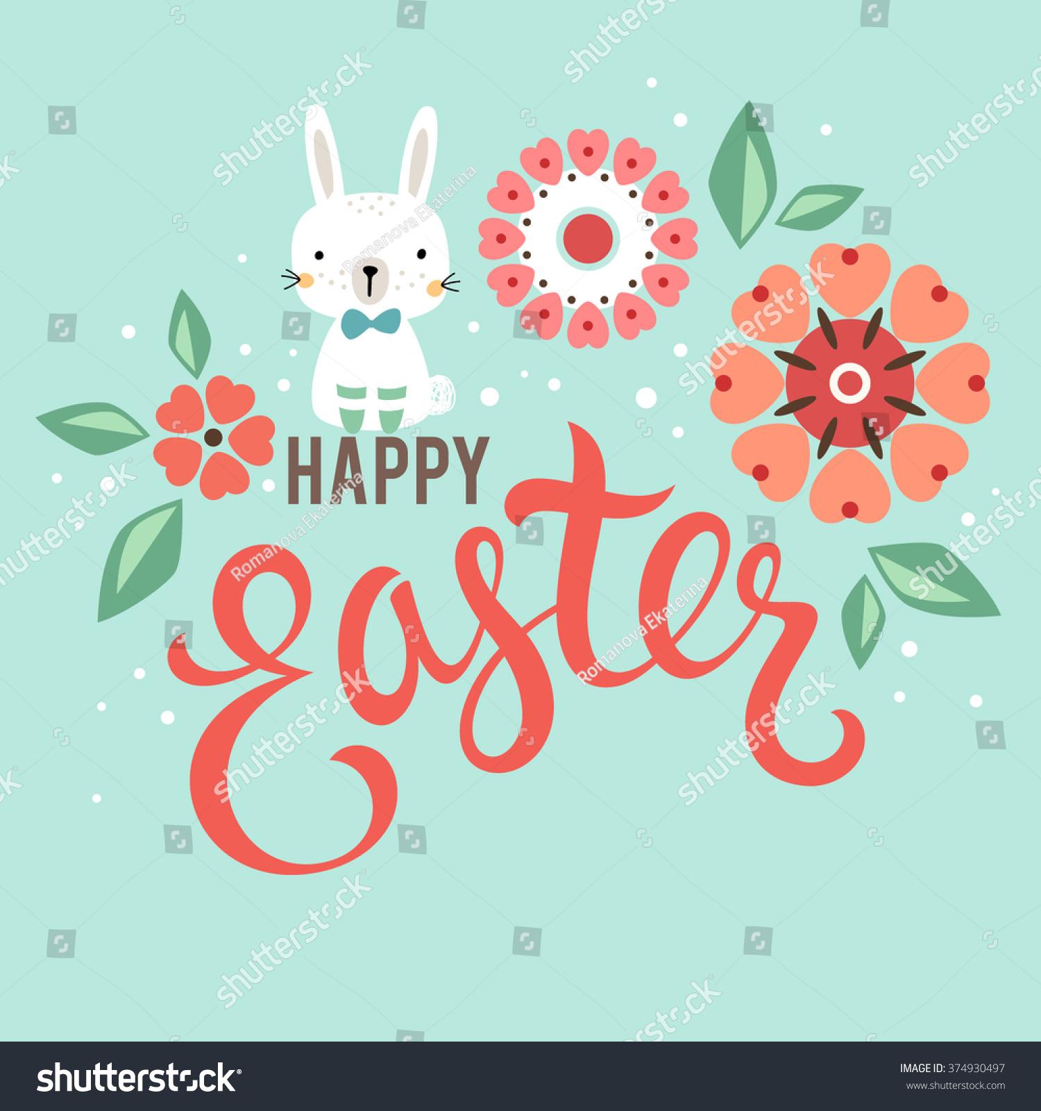 Vector Easter Card Design Bunny Flowers Vector 374930497 – Easter Card Designs