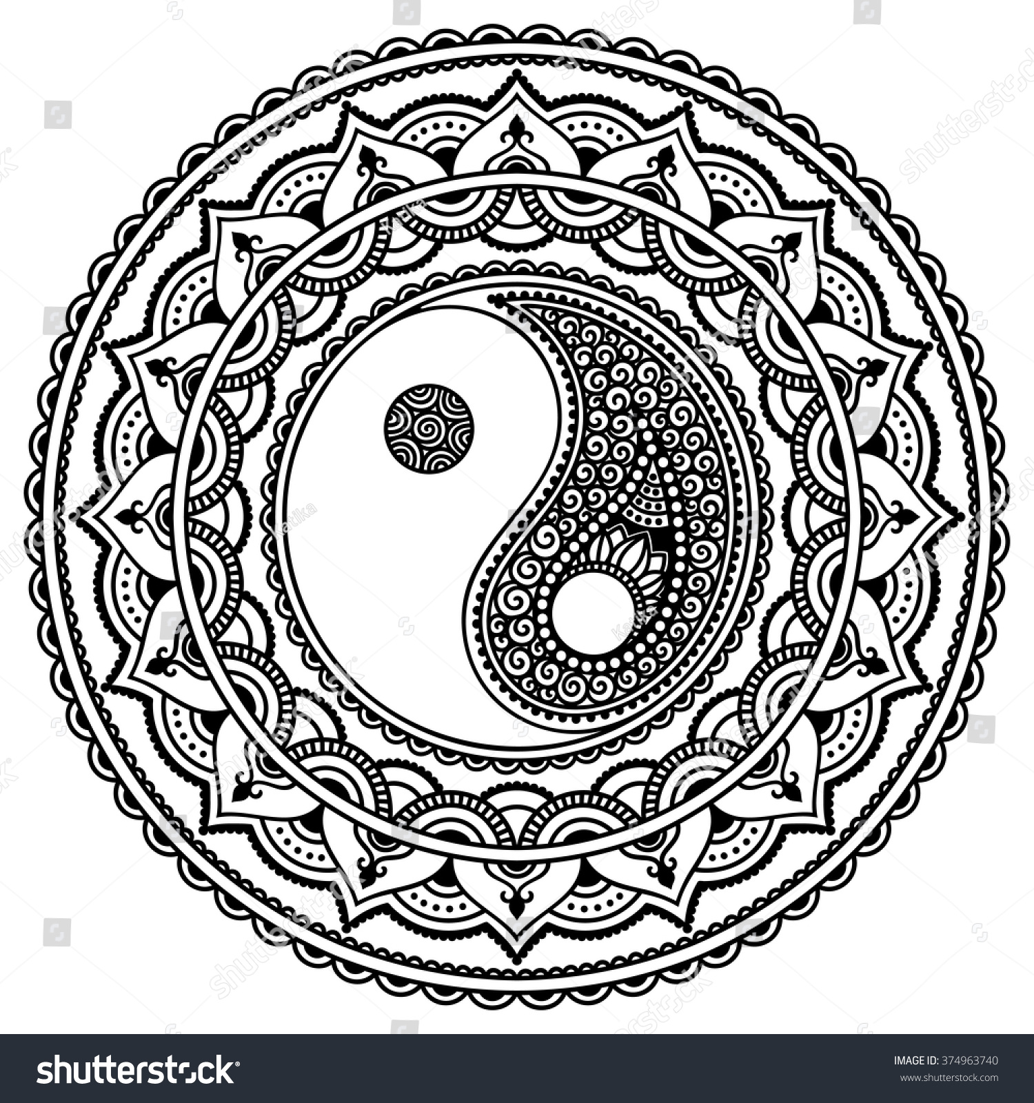 Vector Henna Tatoo Mandala Yinyang Decorative Stock Vector ...