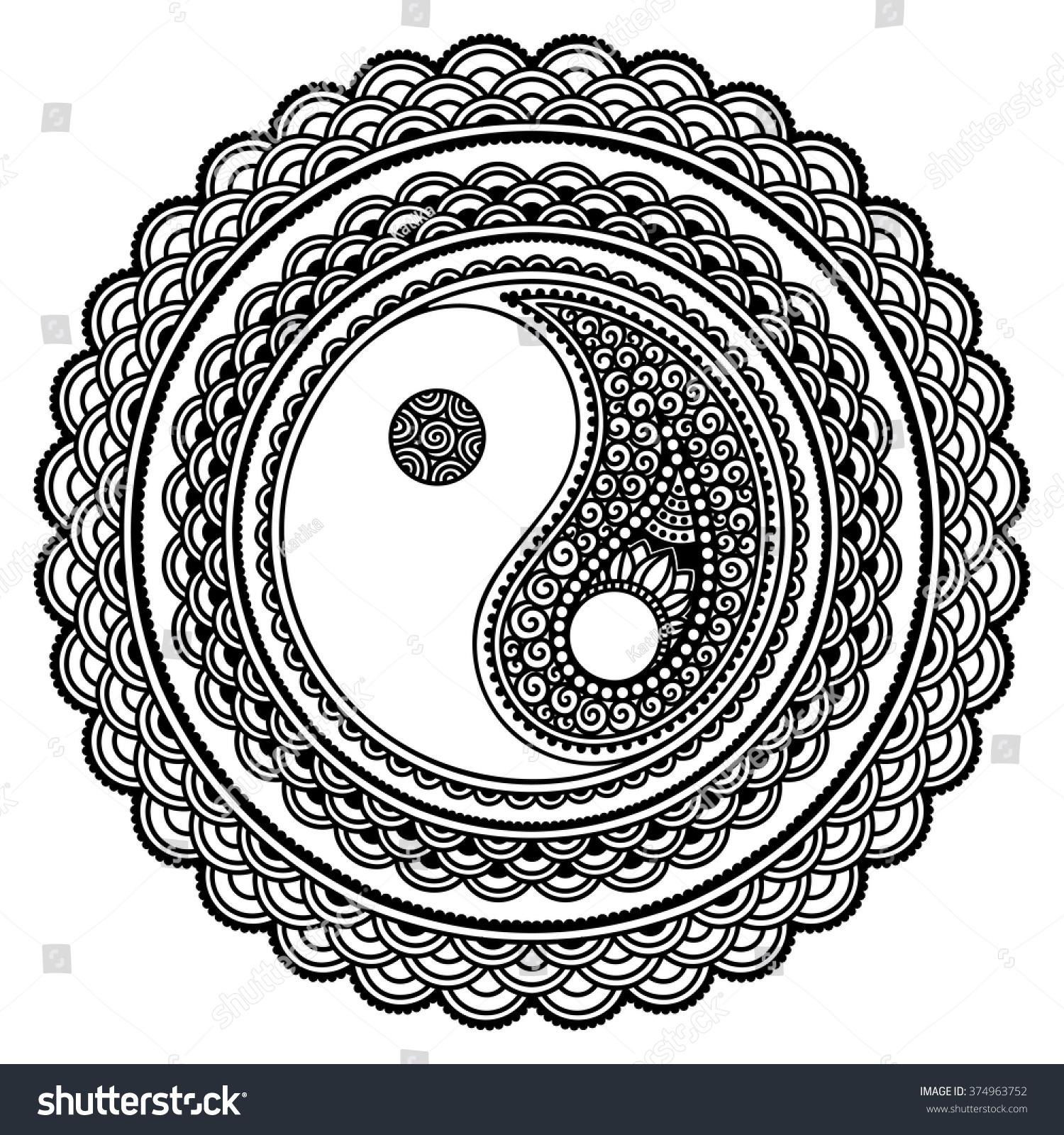 Coloring pages yin yang - Coloring Pages Yin Yang Yin Yang Decorative Symbol Mehndi Style