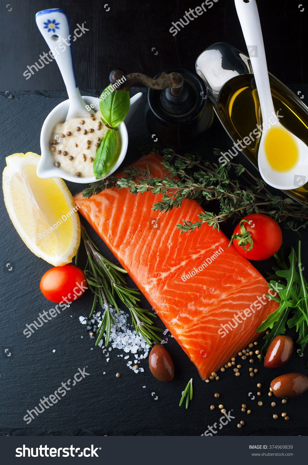 Fresh salmon aromatic herbs spices lemon stock photo for Aromatic herb for fish