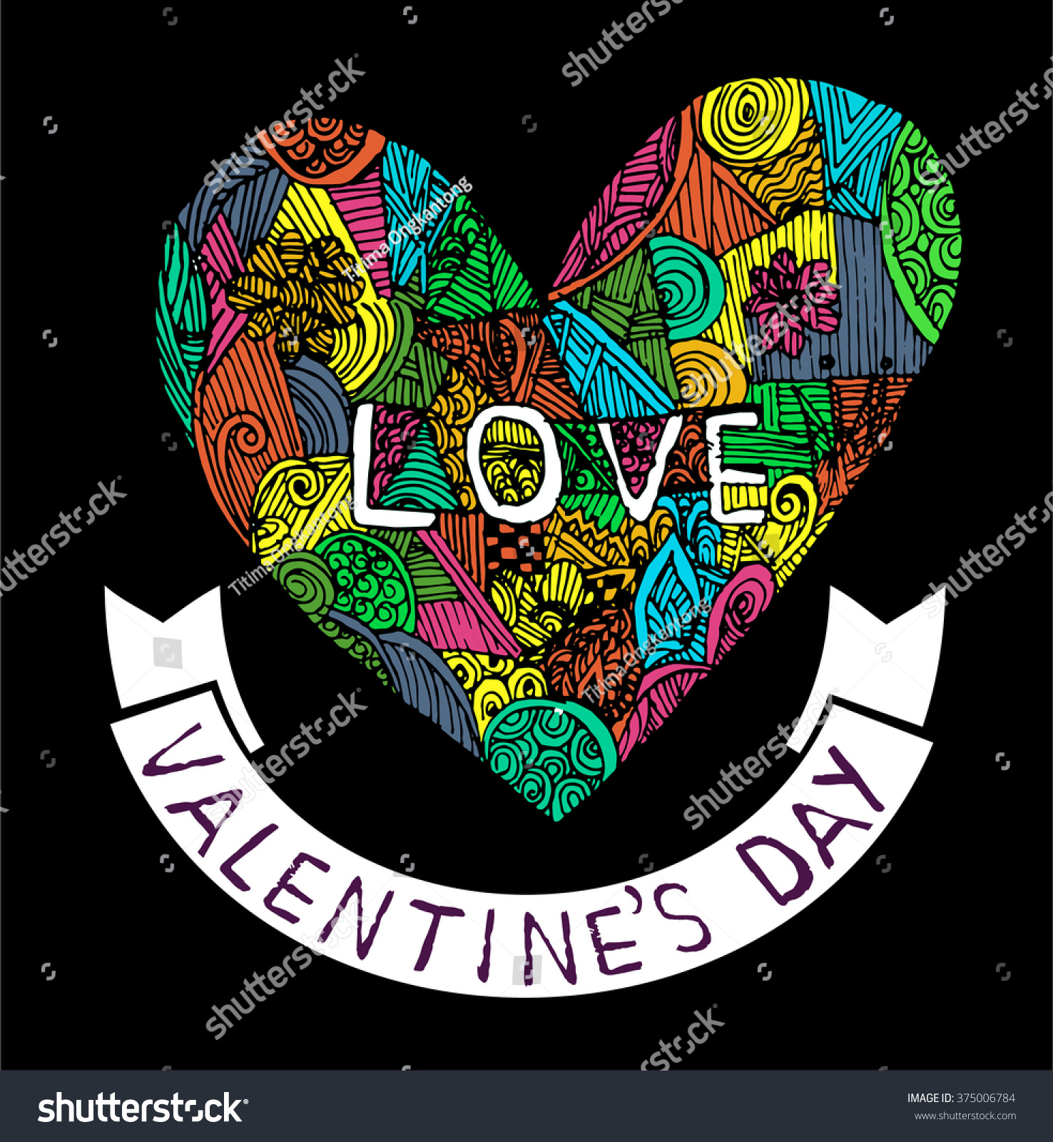Coloring Page Heart St Valentines Day Stock Vector (2018) 375006784 ...