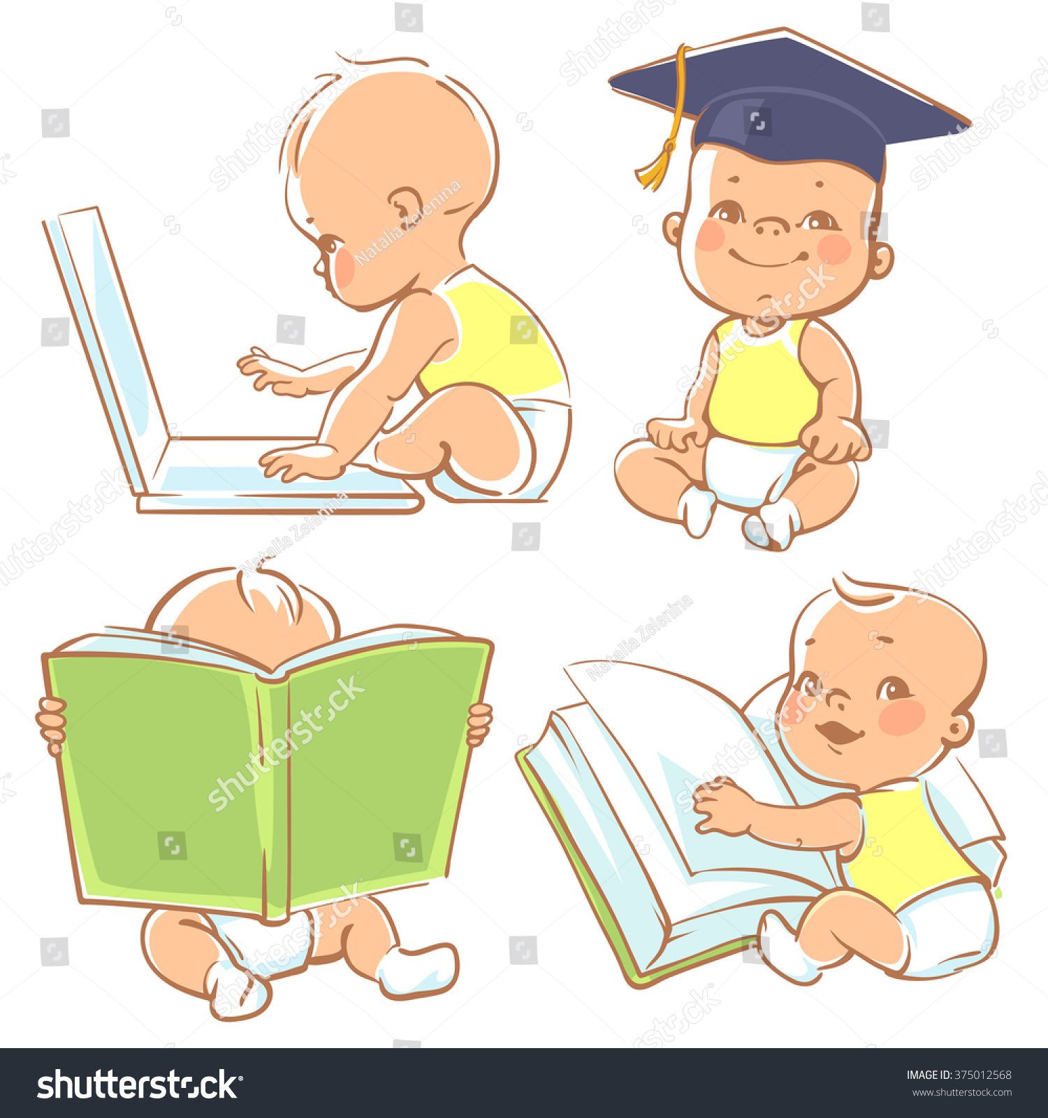 Set With Cute Babies In Diapers Genius Little Boy Reading
