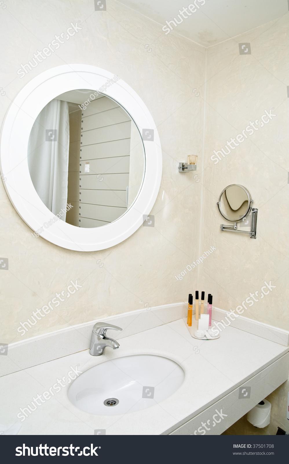 Mirror on wall bathroom stock photo 37501708 shutterstock mirror on a wall of bathroom amipublicfo Gallery
