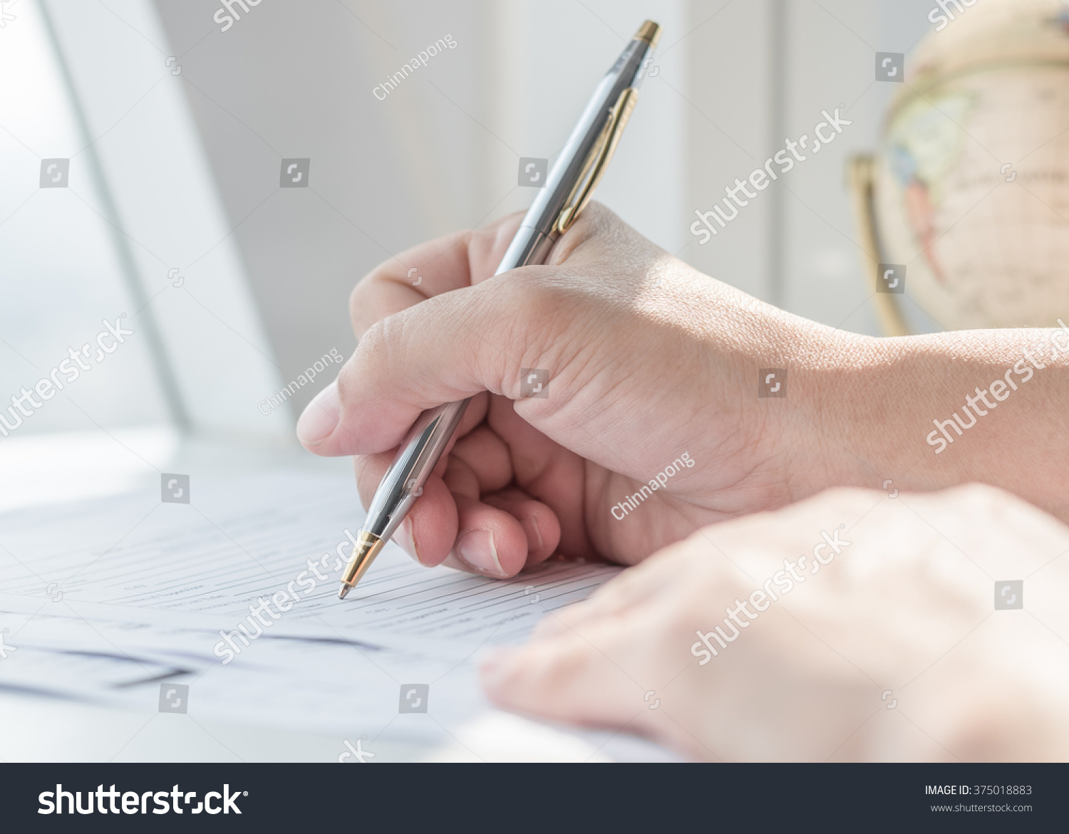 Persons Hand Ballpoint Pen Writing On Photo 375018883 – Blank Mortgage Form