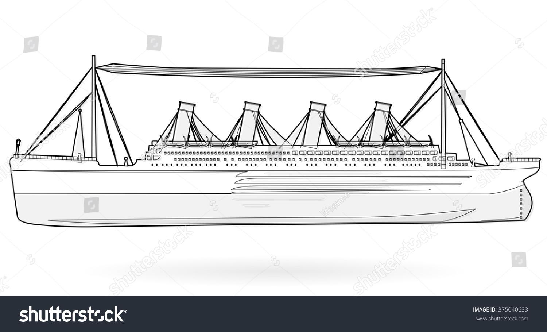 Big boat legendary colossal boat, black and white wire monumental big ship  symbol icon flatten