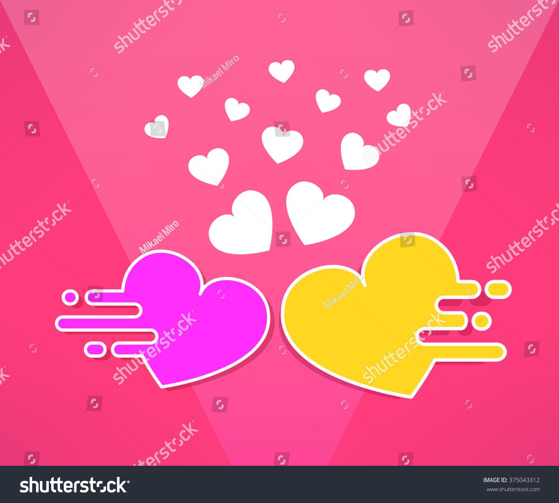 illustration mooving hearts background modern flat stock