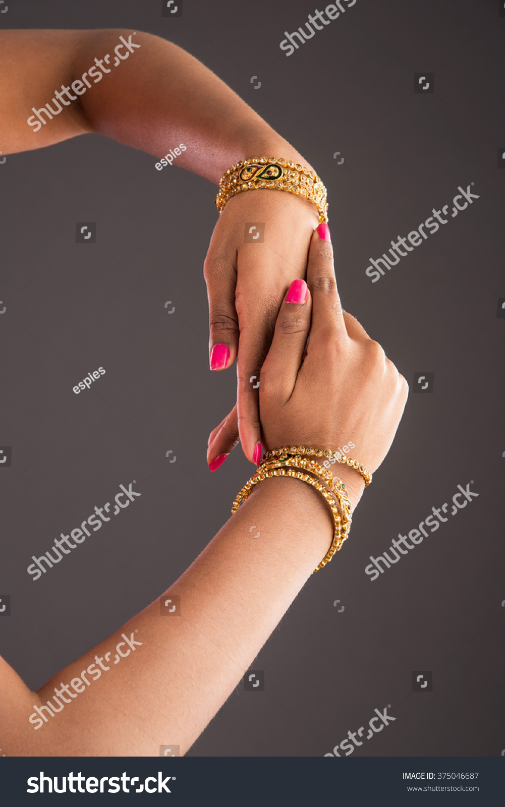 Gold Bangles Hand Graceful Poses Girls Stock Photo 375046687 ...