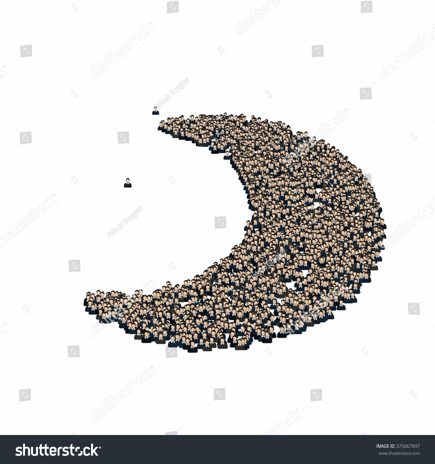 Moon crescent symbol glyph out tiny stock illustration 375067897 moon crescent symbol glyph out of tiny textures particles representing human and his emotions buycottarizona Image collections