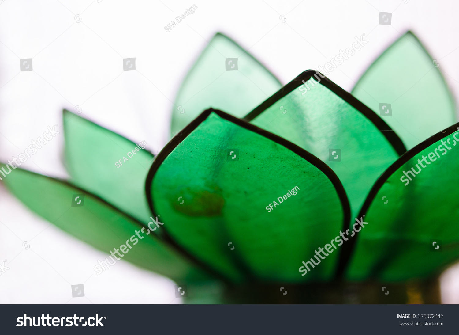Detail Shot Green Glass Lotus Flower Stock Photo Edit Now