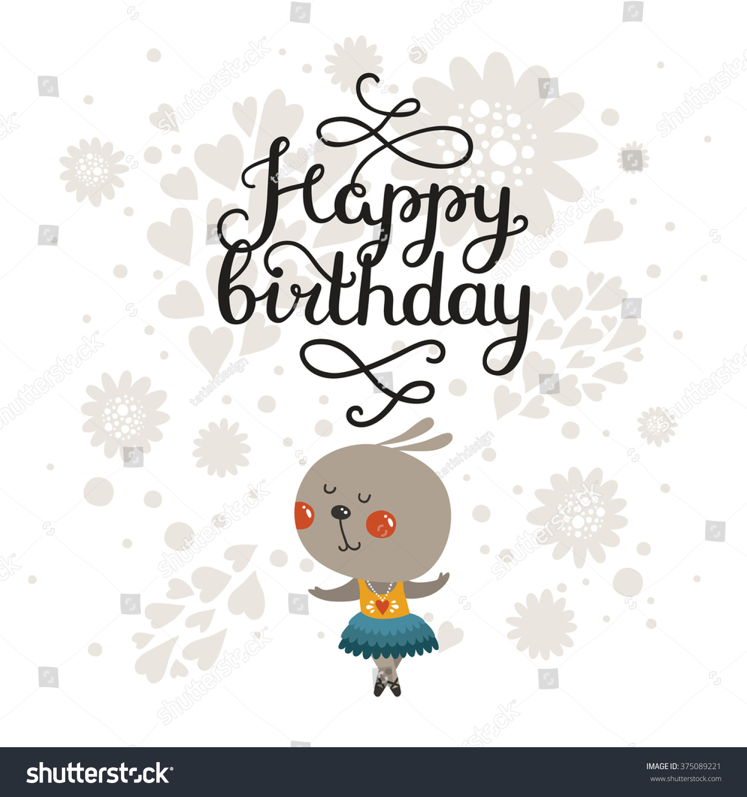 Happy Birthday Greeting Card Cute Rabbit Stock Vector