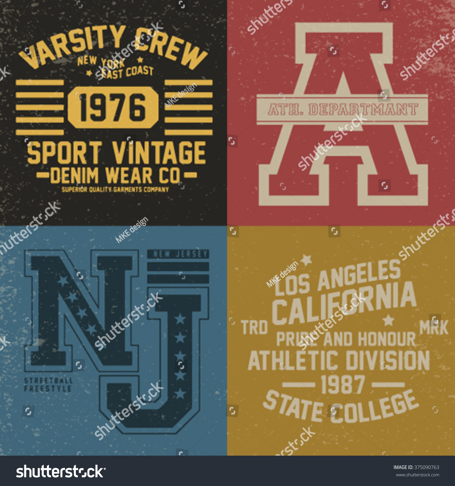 simple tee print designs with college typo