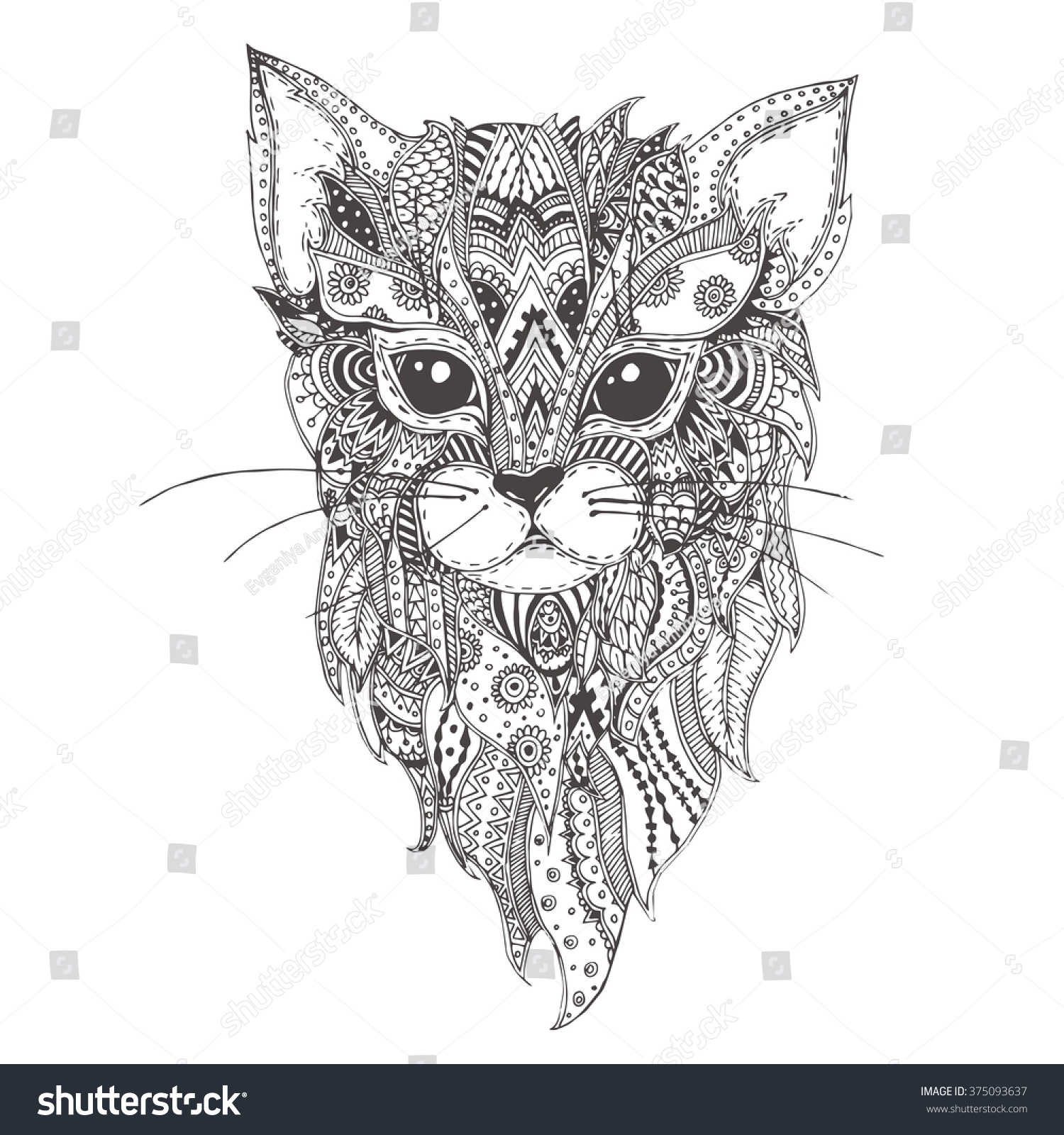 Zen cat coloring page - Hand Drawn Cat With Ethnic Floral Doodle Pattern Coloring Page Zendala Design