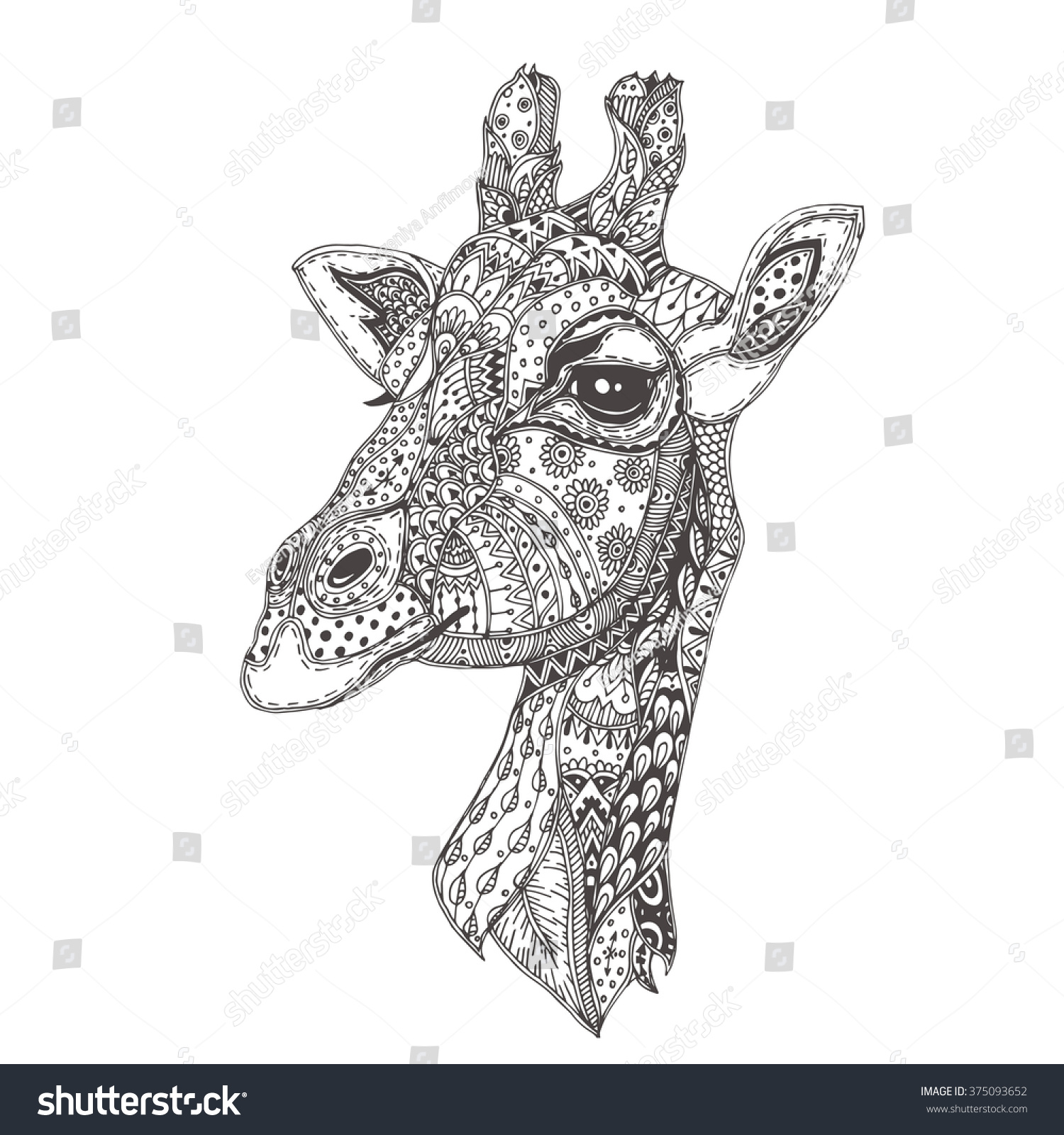 handdrawn giraffe ethnic floral doodle pattern stock vector
