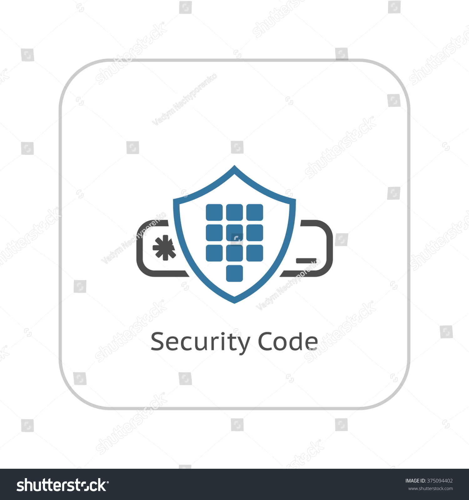 Security Code Icon Flat Design Stock Vector (Royalty Free
