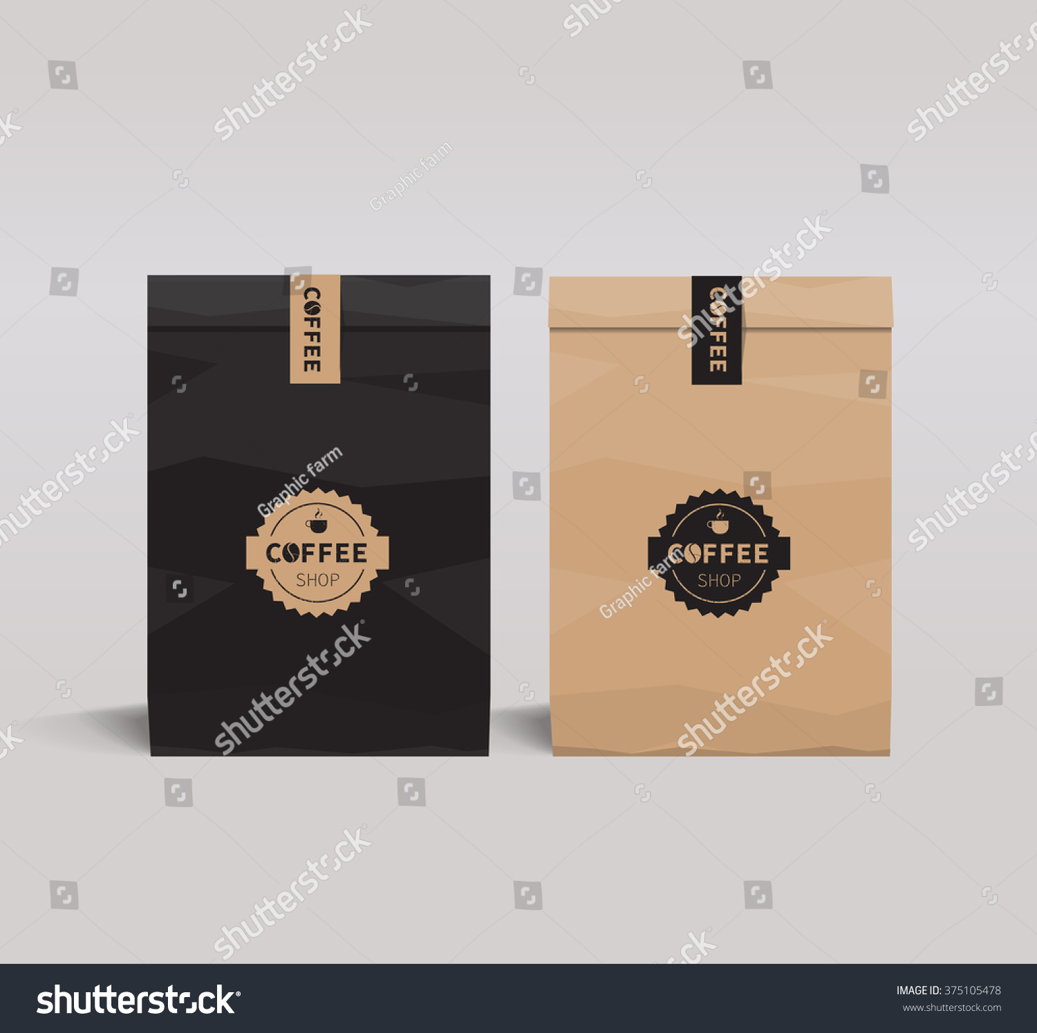 Paper Package Design Mock Templatecafe Restaurant Stock Vector HD ...
