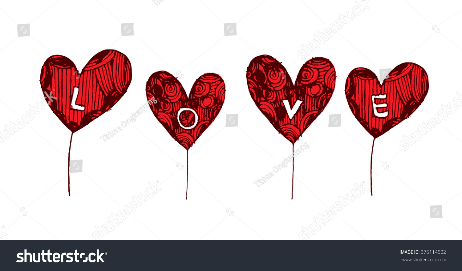 Coloring Page Heart St Valentines Day Stock Vector HD (Royalty Free ...