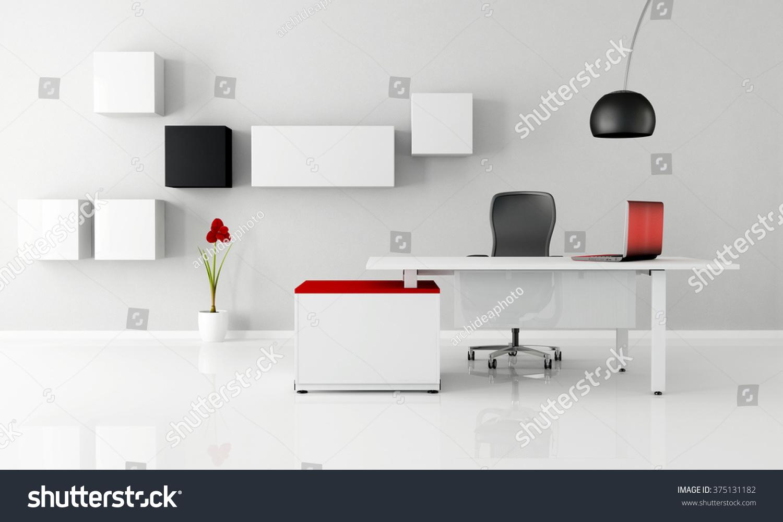 minimalist office white desk laptop cabinet stock illustration