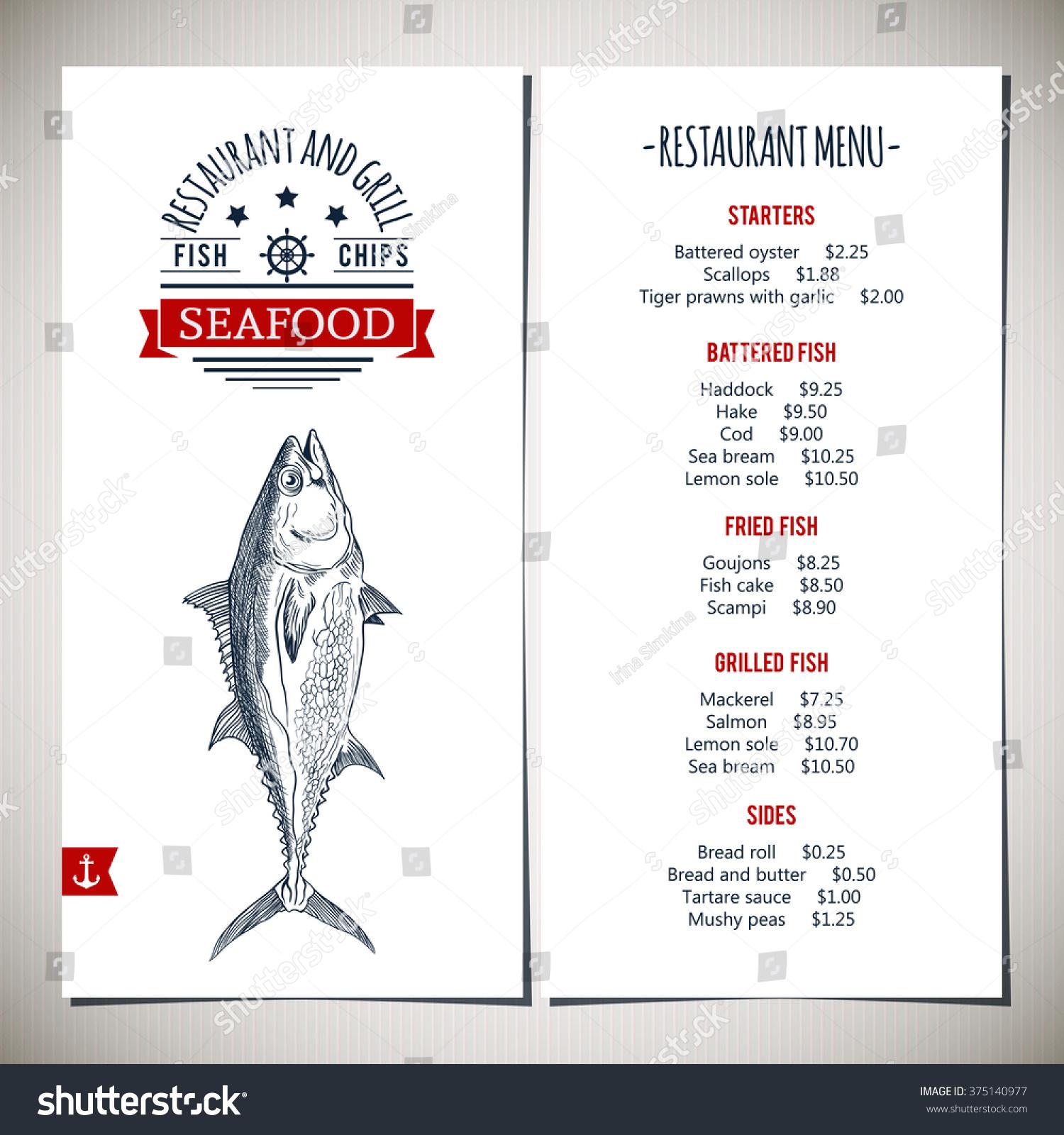 Tuna fish restaurant menu template vector for Big fish restaurant menu