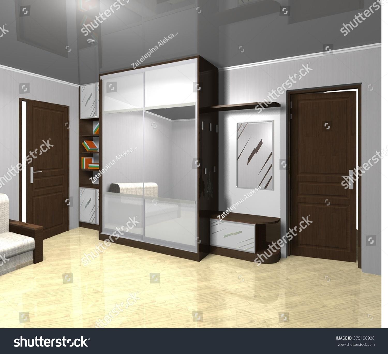 3d Rendering Illustration Interior Design Wardrobe Mirrored Sliding