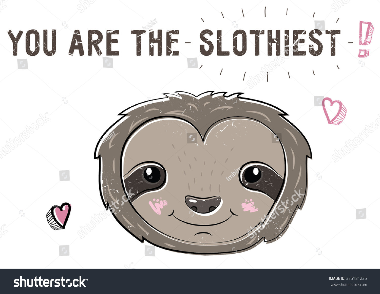 St. Valentineu0027s Day Doodle Cute Sloth Lazy Cartoon Postcard To Make A  Declaration Of Love