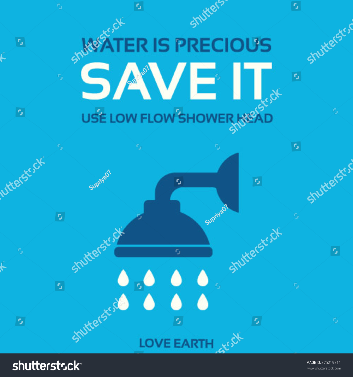 Water Precious Save It Use Lowflow Shower Headvector Stock Vector ...