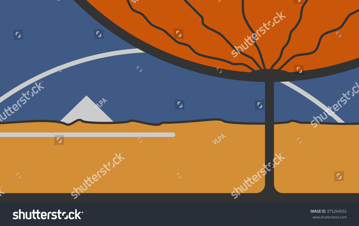 stock vector abstract vector illustration of desert landscape with tree and pyramid wallpaper yellow 375264502
