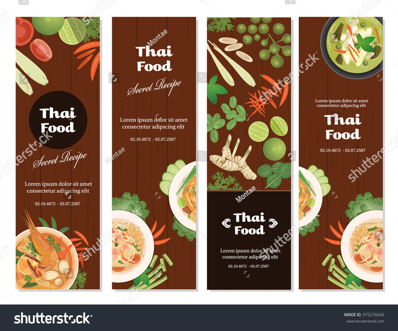 vector thai foods banner setvertical banner stock vector 375276640