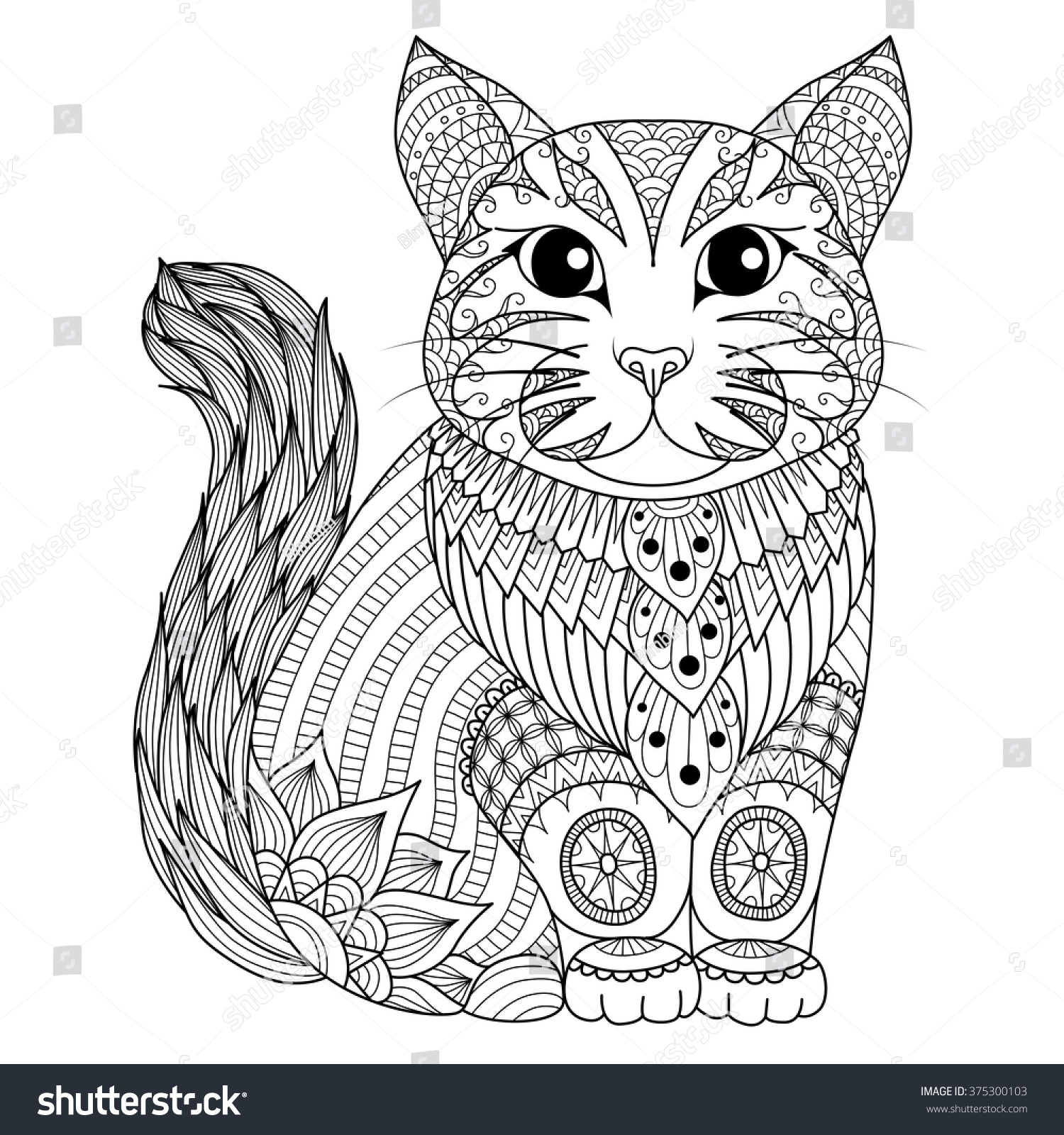 Drawing Zentangle Cat Coloring Page Shirt Stock Vector (Royalty Free ...