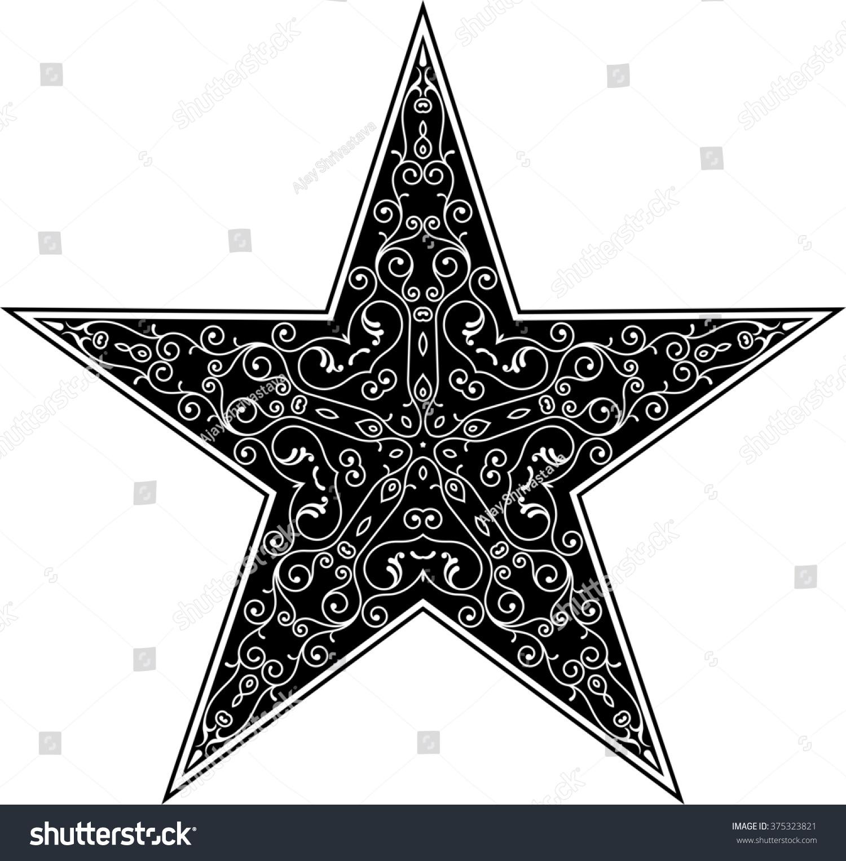 Tattoo Star Symbol Raster Illustration Stock Illustration 375323821