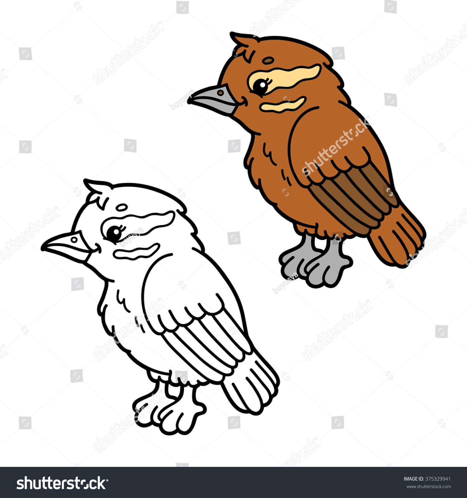 Funny Xenops Cartoon Vector Illustration Coloring Page Of Happy Bird For Children And Scrap Book Stock Photo