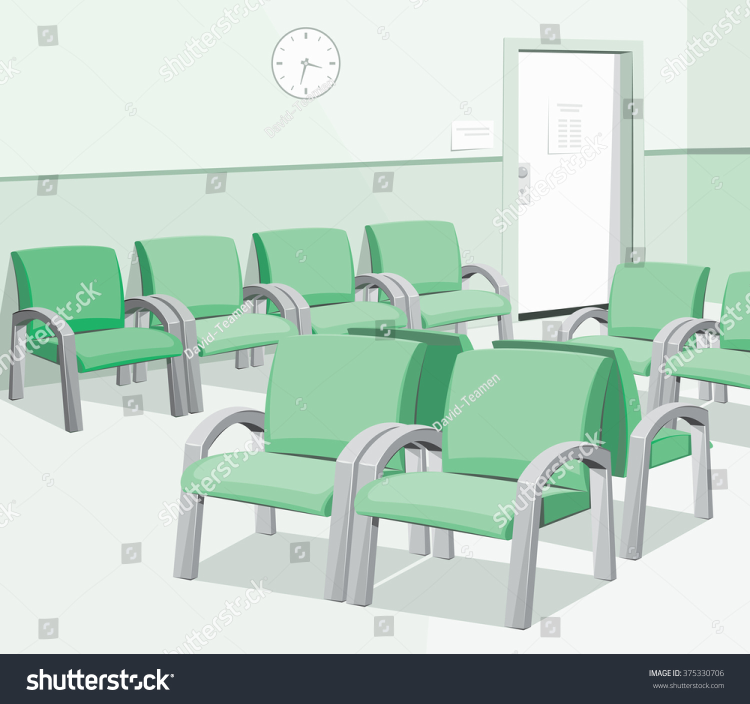 Empty Waiting Room Hospital Private Medical Stock Vector