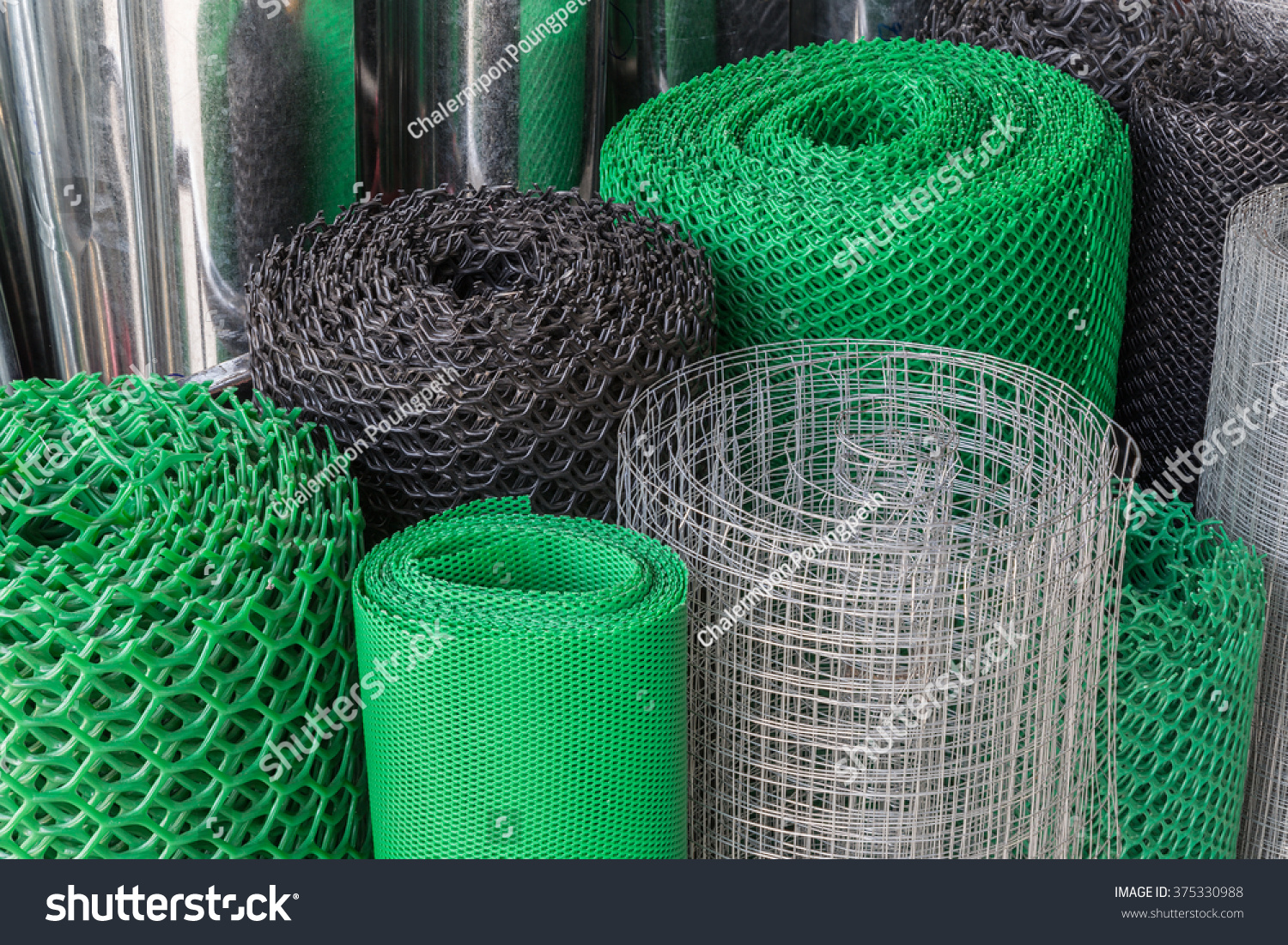 Rolls Plastic Steel Wire Mesh Various Stock Photo (Royalty Free ...