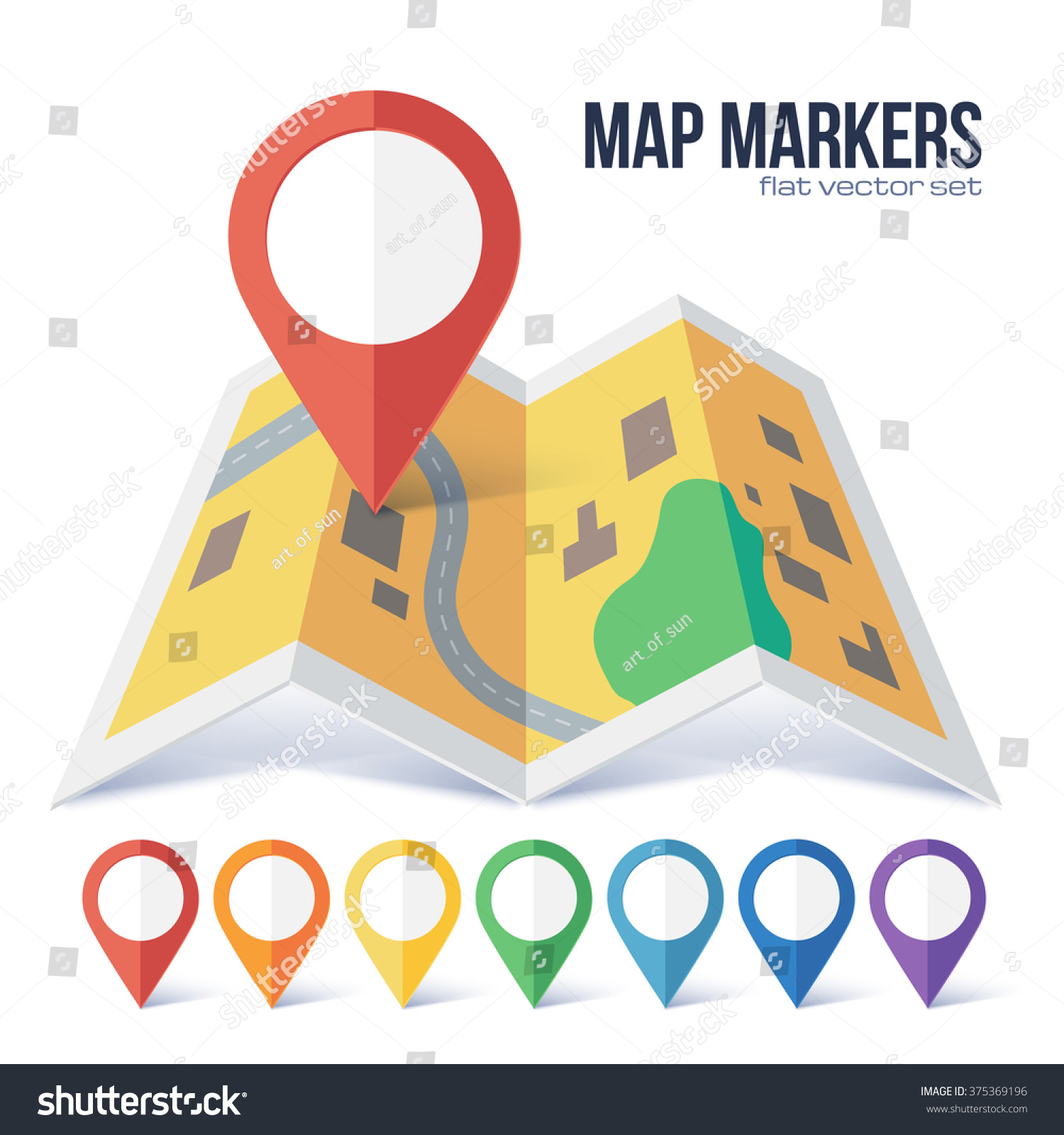 Red Vector Map Point Marker On Stock Vector 375369196 - Shutterstock