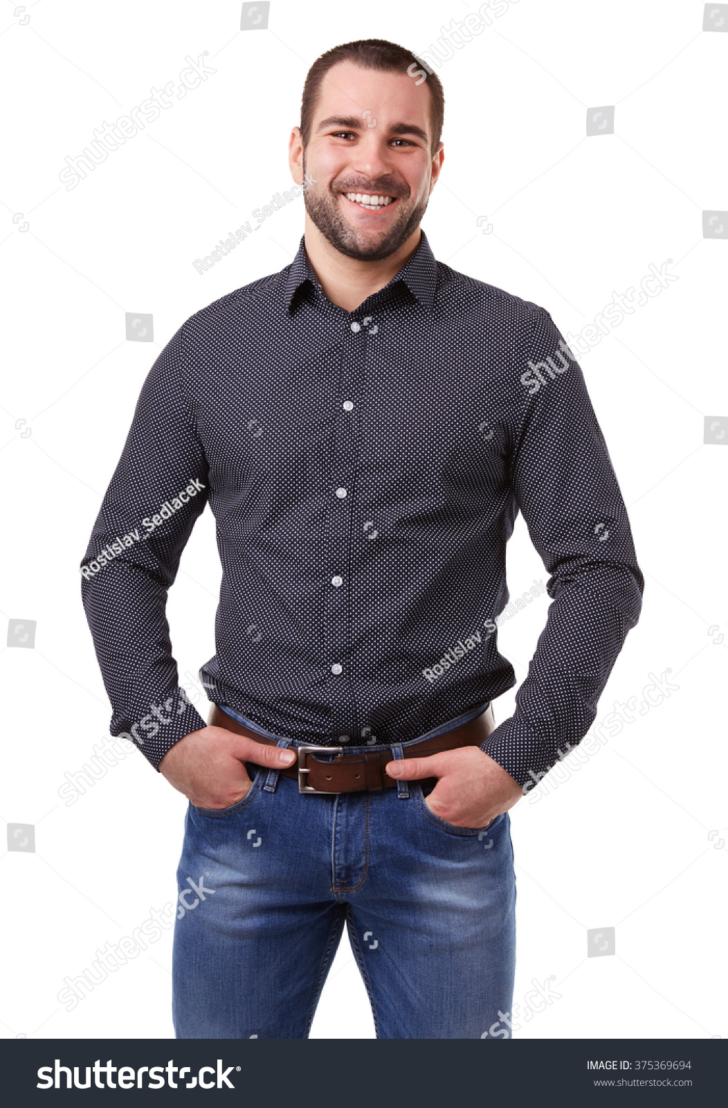 Portrait of young man in black shirt on white background #375369694