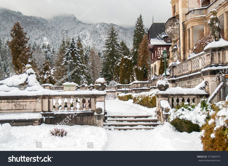 view peles castle garden winter day stock photo 375389473