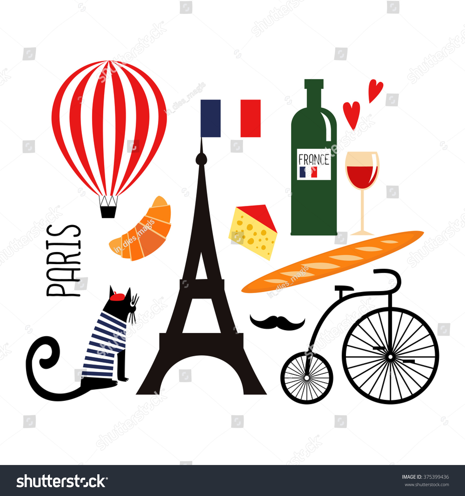 Cute cartoon french culture symbols wine stock vector 375399436 cute cartoon french culture symbols wine eiffel tower baguette retro bicycle biocorpaavc Gallery