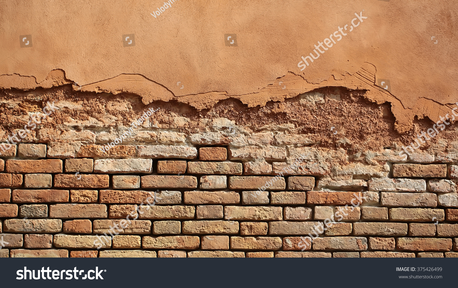 Photo Closeup Outdoor Aged Terracotta Clay Brick And Decorative Stucco Facade Wall Exterior