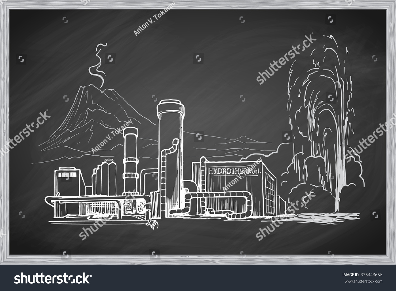 Geothermal Power Station Sketch Imitating Chalk Stock Vector Plant Schematic Diagram Drawing On A Blackboard Is Isolated