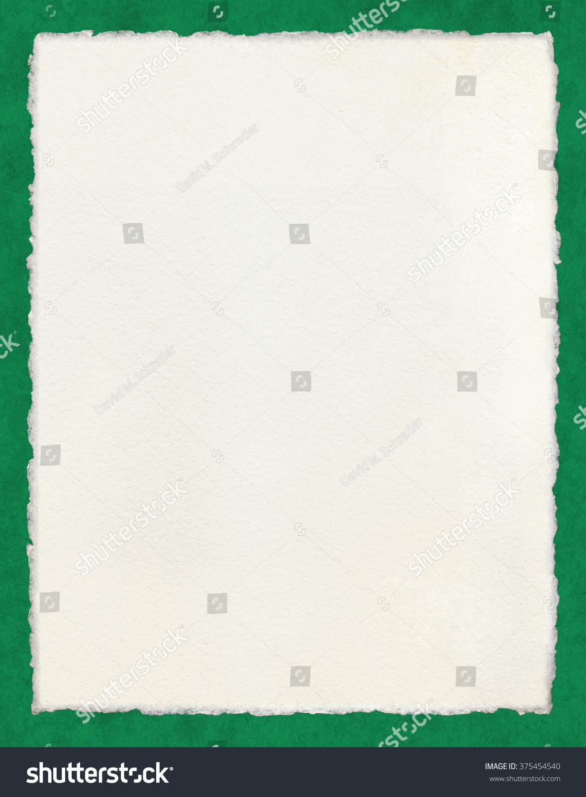 Watercolor Paper With True Deckled Edges On A Green Background. File  Includes A Clipping Path