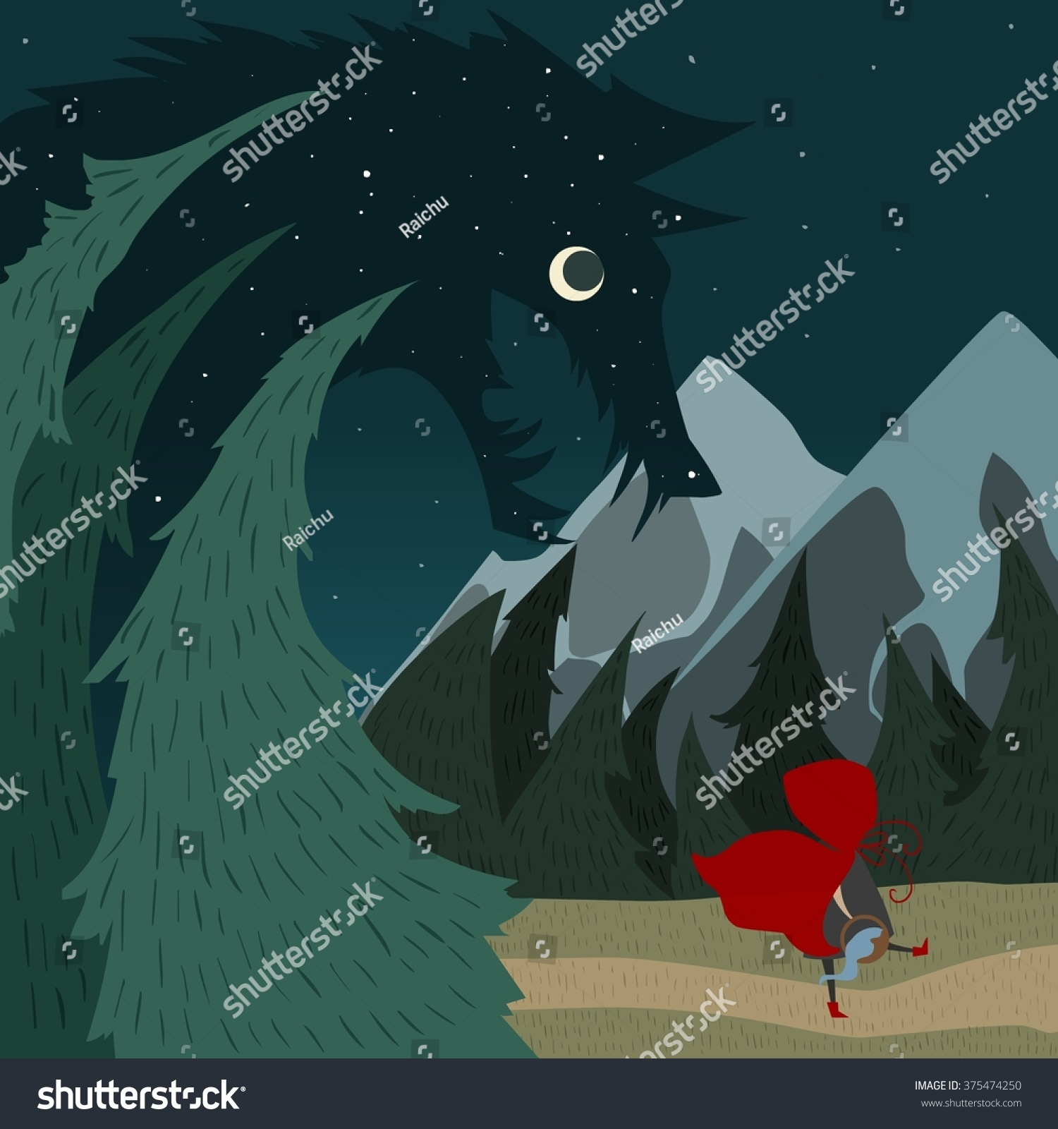 Little red riding hood stock vector 375474250 shutterstock little red riding hood buycottarizona