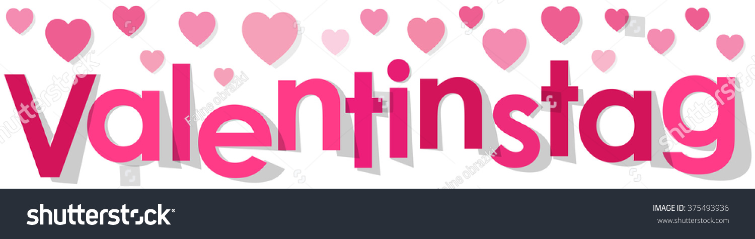 Valentinstag Banner Pink German Text With Hearts On A White Background.