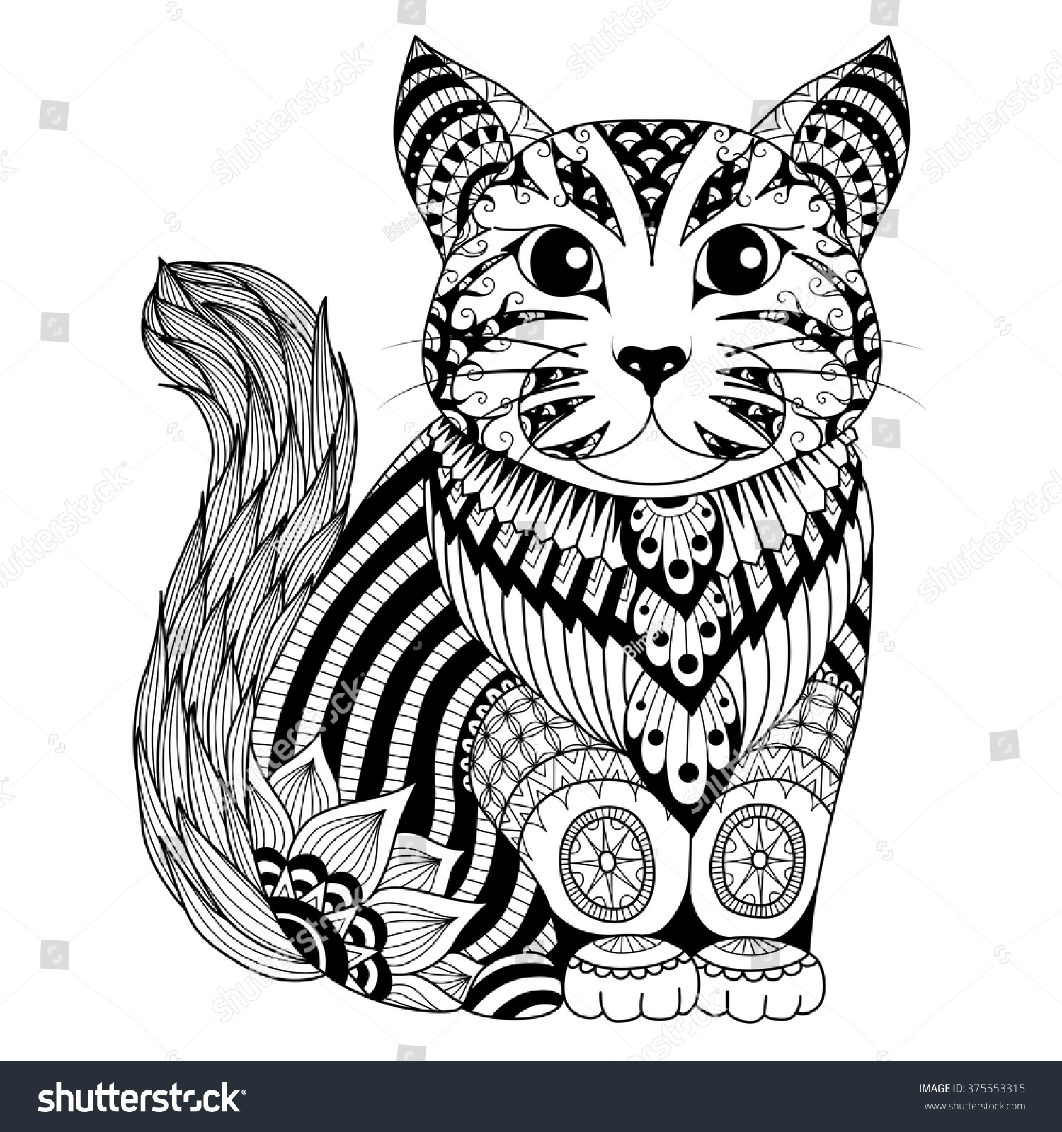 Zen cat coloring page - Drawing Zentangle Cat For Coloring Page Shirt Design Effect Logo Tattoo And Decoration