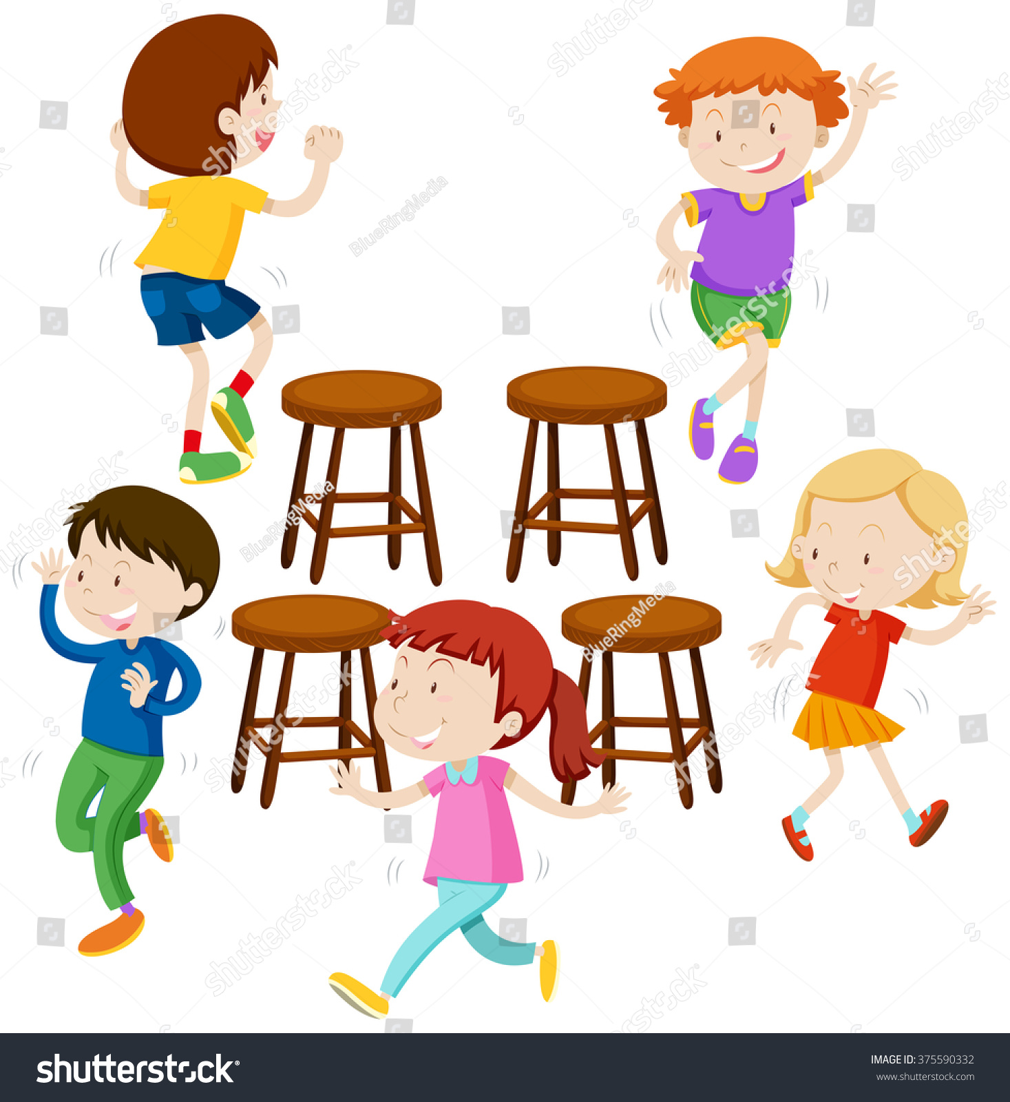 Musical chair game for kids - Children Playing Music Chairs Illustration
