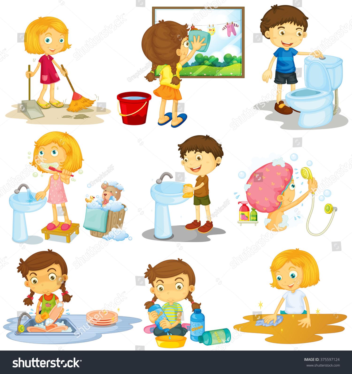 Children Doing Different Chores Illustration Stock Vector ...