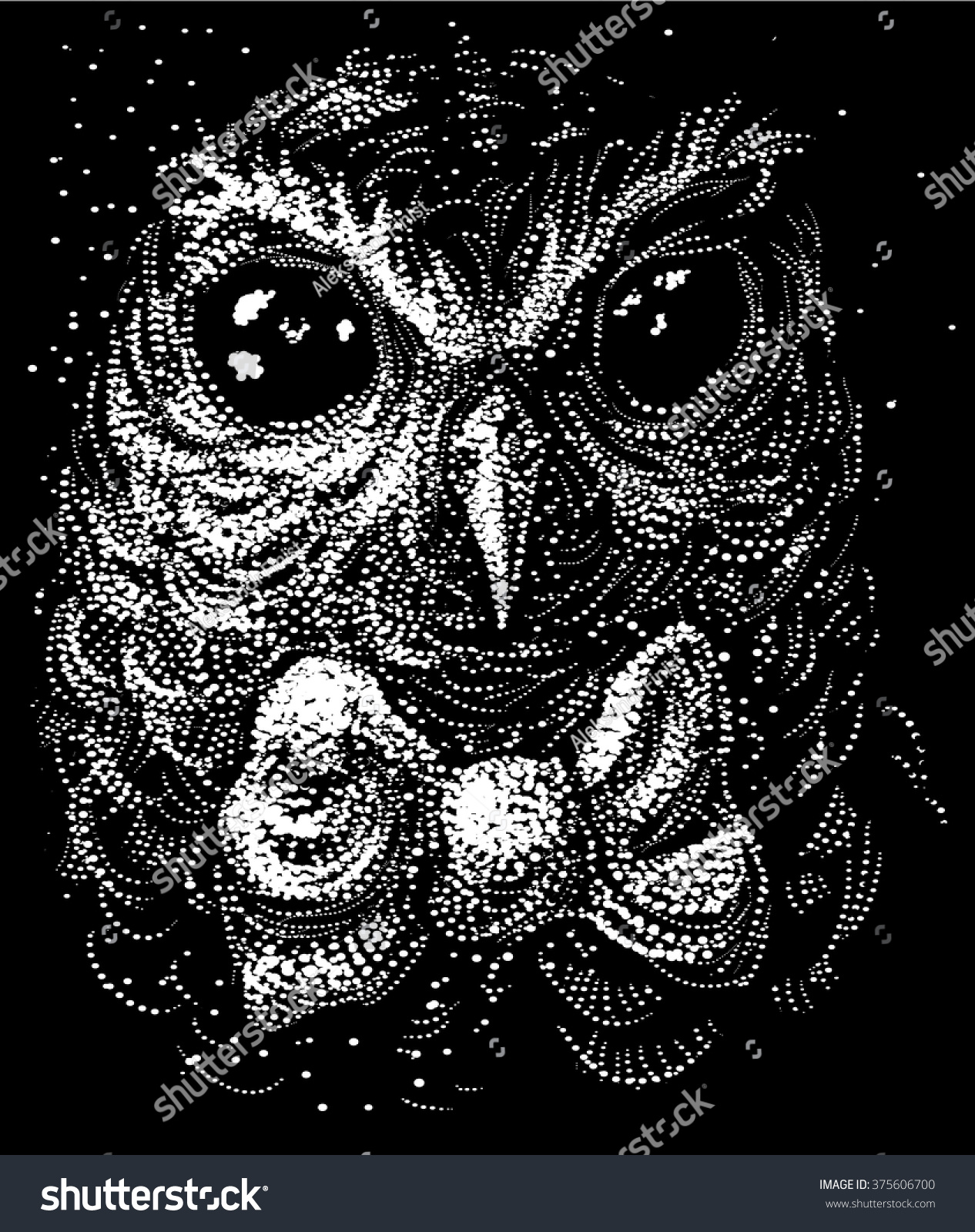 owl vector illustration owl black white stock vector